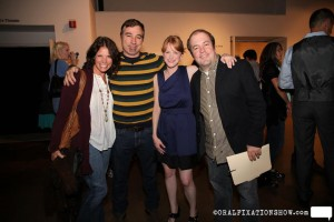 Allison Hatfield and Ken Bethea stand with producer Nicole Stewart Schlesinger and David Hopkins at the MAC after the Baby Steps show November 6.
